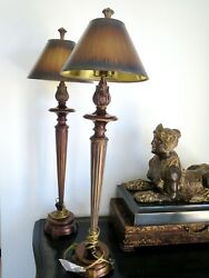 A Beautiful Pair of FINE ART TABLE LAMPS 33quot; Tall w 6quot; Base 9.5quot; Base of Shade $400.00