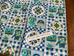 Vintage Blue Green Kitchen Themed Cotton Fabric 35x108 3 Yards $20.00
