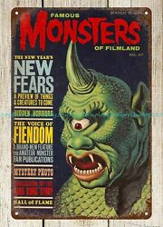 wall designs for living room 1967 Famous Monsters cover art metal tin sign $16.88