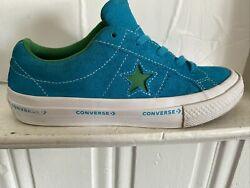 CONVERSE ONE STAR Ocean Blue Suede w Green Star Kids Size 2.5 Low Top $19.99