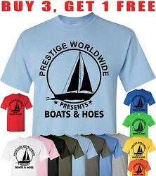 Mens Prestige Worldwide T shirt Funny Cool Boats And Hoes Graphic Humor Tee $12.95