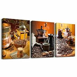 Kitchen Canvas Art Warm Coffee Prints Wall Art Coffee Bean Cup Pictures Paint... $40.58