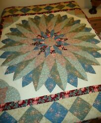 """NEW Vintage Handcrafted DAHLIA Patchwork Quilt Full Queen 86x86"""" STAR Cotton $75.00"""