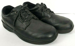 OrthoFeet Shoes Mens 13 Wide Gel 410 Black Pebbled Leather Lace Sneaker Oxford $23.96