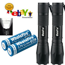 2 Pack Super Bright 90000LM LED Tactical Flashlight With Rechargeable Battery US $12.48