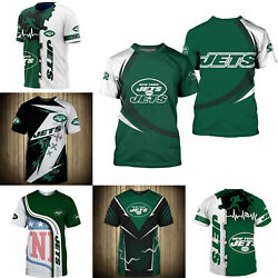 3D Men#x27;s New York Jets Casual Tee Top Short Sleeve T Shirt Gift for Fans $18.90
