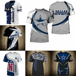 3D Men#x27;s Dallas Cowboys Casual Tee Top Short Sleeve T Shirt Gift for Fans $18.90