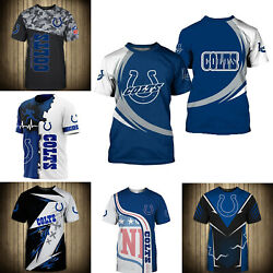 3D Men#x27;s Indianapolis Colts Casual Tee Top Short Sleeve T Shirt Gift for Fans $18.90