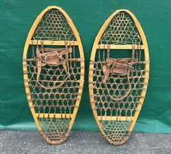LOVELY Vintage BEAR PAW SNOWSHOES 32x14 Snow Shoes LEATHER BINDINGS L@@K $131.49