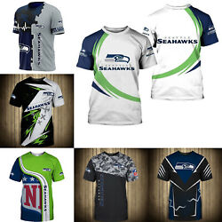3D Men#x27;s Seattle Seahawks Casual Tee Top Short Sleeve T Shirt Gift for Fans $18.90