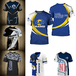 3D Men#x27;s Los Angeles Rams Casual Tee Top Short Sleeve T Shirt Gift for Fans $18.90