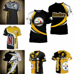 3D Men#x27;s Pittsburgh Steelers Casual Tee Top Short Sleeve T Shirt Gift for Fans $18.90