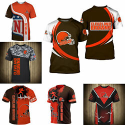 3D Men#x27;s Cleveland Browns Casual Tee Top Short Sleeve T Shirt Gift for Fans $18.90