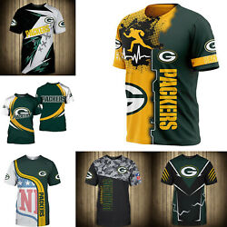 3D Men#x27;s Green Bay Packers Casual Tee Top Short Sleeve T Shirt Gift for Fans $18.90