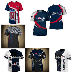 3D Men#x27;s New England Patriots Casual Tee Top Short Sleeve T Shirt Gift for Fans $18.90