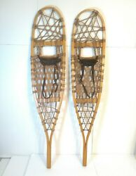 Vintage Northwoods Brand Made In Canada Safesport Snow Shoes 46quot; x 10quot; Leather $126.00