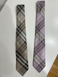 2 BURBERRY MENS TIES GOLD AND PINK $100.00