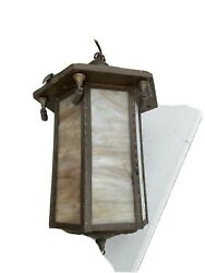 antique slag glass hanging fixture hall brass electric 1920s $165.00