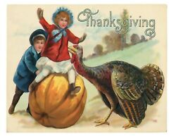 Vintage Style Sign Rustic Country Farmhouse Thanksgiving Turkey 8quot; x 10quot; Repro $12.97