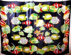 Large Sunny Hawaii Novelty Scarf Wrap Fish Print Made in Italy $9.99