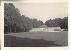 Vintage Bamp;W Photo Beautiful Unknown Park Stone Wall Trees #24 $9.81
