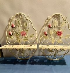 Pair Vintage tole painted roses and leaves cream metal shelves foldable $80.00