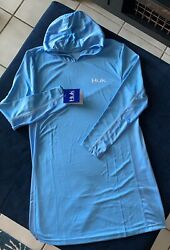huk womens dress Large With Hoodie Blue $40.00