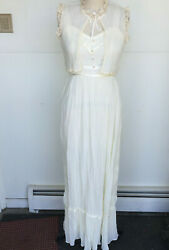 Vintage Wedding Gown Hand Made Ivory Maxi Dress with Petticoat size S $89.99