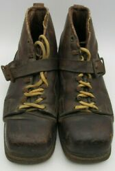 Vintage European Brown Leather Cross Country Ski Boots Men#x27;s 1950#x27;s $45.00
