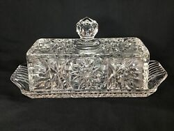 Vintage Crystal Clear Cut Glass Butter Dish With Covered Lid $14.99