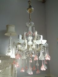 amazing vintage French chandelier opaline glass Murano drops GBP 250.00