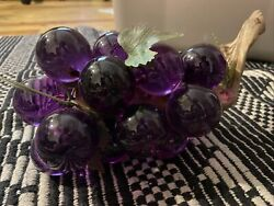 Large Cluster Lucite Acrylic Purple Grapes on Driftwood Stem Mid Century 11quot; $45.00