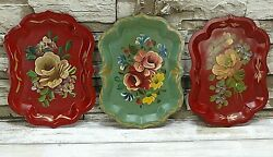 Goodkind amp; Co Vintage Tole Trays 3 Hand Painted Floral Jewelry Trinket 8quot;x6quot; $19.99
