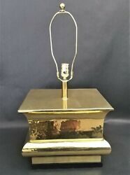 Large Square Hammered Brass Table Lamp on Wood Base $195.00