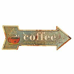 New Deco Coffee Metal Tin Sign With Rustic Retro Arrow Decorative Sings For C... $15.96