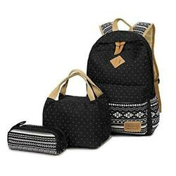 Teen Girls Canvas School Backpack 3 Pcs Set Casual Daypack Lunch Box Pencil $50.89