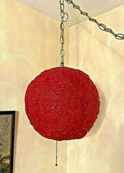 Vintage Retro MCM Red Globe Spaghetti Hanging Light Works Great 13quot; High $225.00