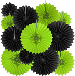 Black Green Party Hanging Paper Fans Decorations Tropical Jungle Animal Birthday $21.50
