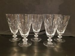 Set of 5 Vintage Crystal Water Goblet Glasses With Wheat Pattern 6 1 2quot; Tall $20.00