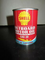 BOAT GRAPHIC * FULL NEAR MINT * 1960#x27;s era SHELL OUTBOARD MOTOR OIL Old Oil Can $19.95