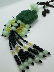 Natural stone dog crystals and beads tassel decoration $12.00