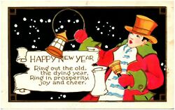 New Year Man Ringing Out the Old Lantern Top Hat Bell Postcard #90272 $5.00