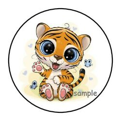 30 CUTE BABY TIGER ENVELOPE SEALS LABELS STICKERS 1.5quot; ROUND GIFTS TAGS JUNGLE $1.95