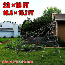 Huge Giant Large Outdoor Yard 5 Rope Spider Web Halloween Scary Spooky Decor Red