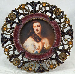 Picture Photo Round Frame Antique Brass Enamel amp; Amber Crystals Lamps Plus $25.99