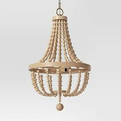 Large Chandelier Wooden Beads Natural Tone Opalhouse Light Hanging New $99.99
