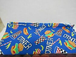 Vintage MILLWORTH Large Novelty Print Diner Fabric 58quot;x 61quot; $14.99
