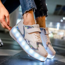 Kids Cool LED Shoes Roller Skate Shoes Fashion Light Wheels Sneakers Girls Boy $53.90