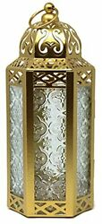 Decorative Candle Lantern Holders Gold Clear Glass Medium Gold Clear $37.54