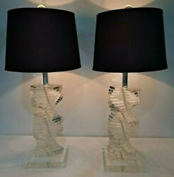 Pair Mid Century Stacked Staircase Waterfall Helix Lucite Lamps Lighting RARE $539.99